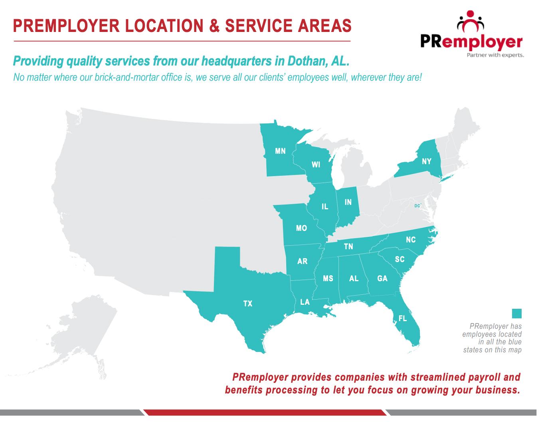 PRemployer Location & Services Area